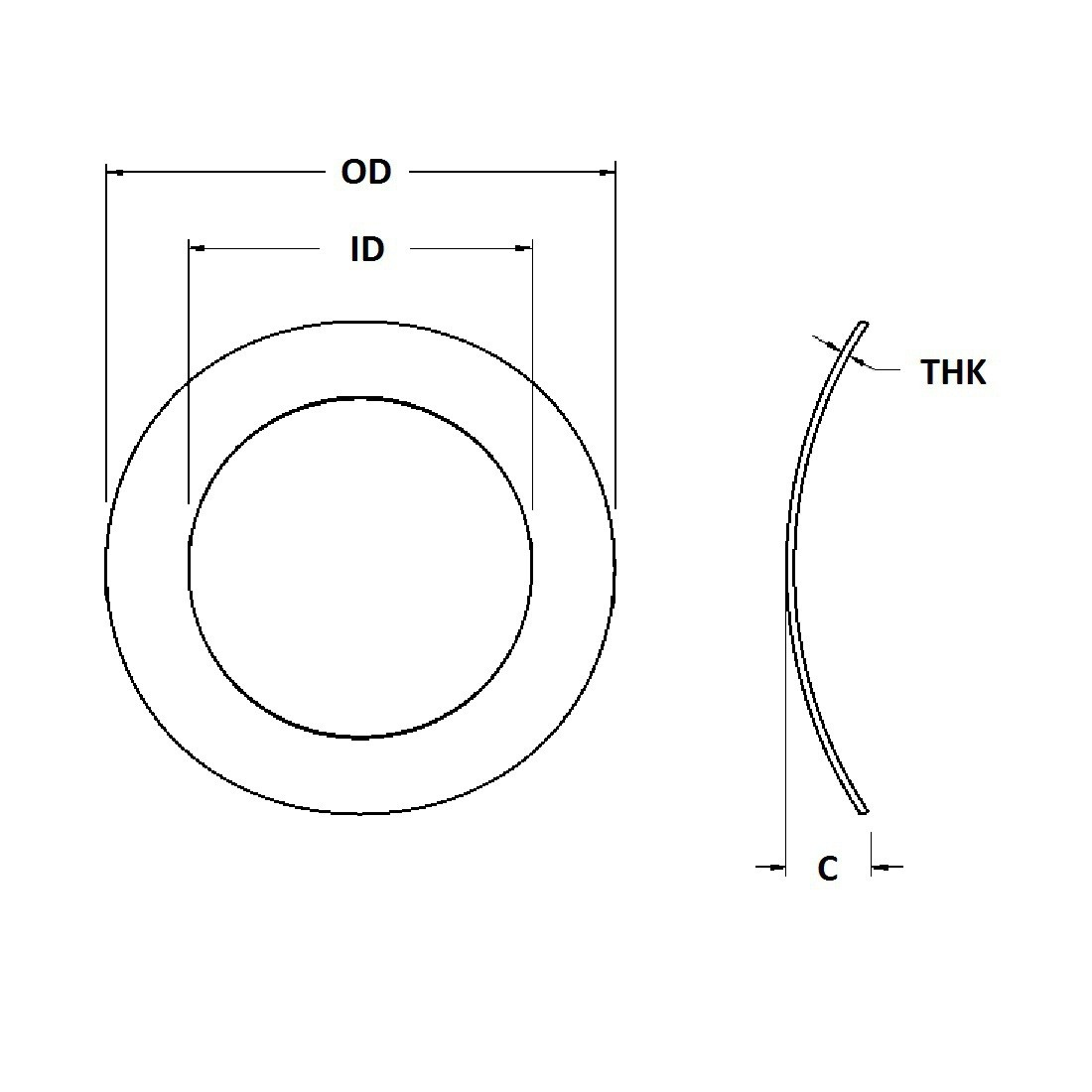 Wave Washer - 0.098 ID, 0.187 OD, 0.005 Thick, Spring Steel - Hard