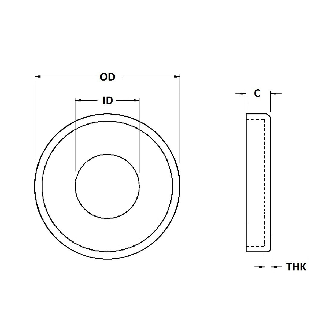 Cup Washer - 0.193 ID, 0.700 OD, 0.050 Thick, Spring Steel - Hard, Black Oxide