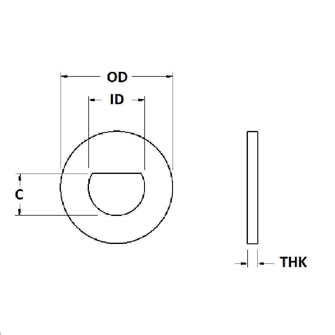 D-Shaped ID Washer - 0.318 ID, 0.500 OD, 0.030 Thick, Stainless - 300 Series