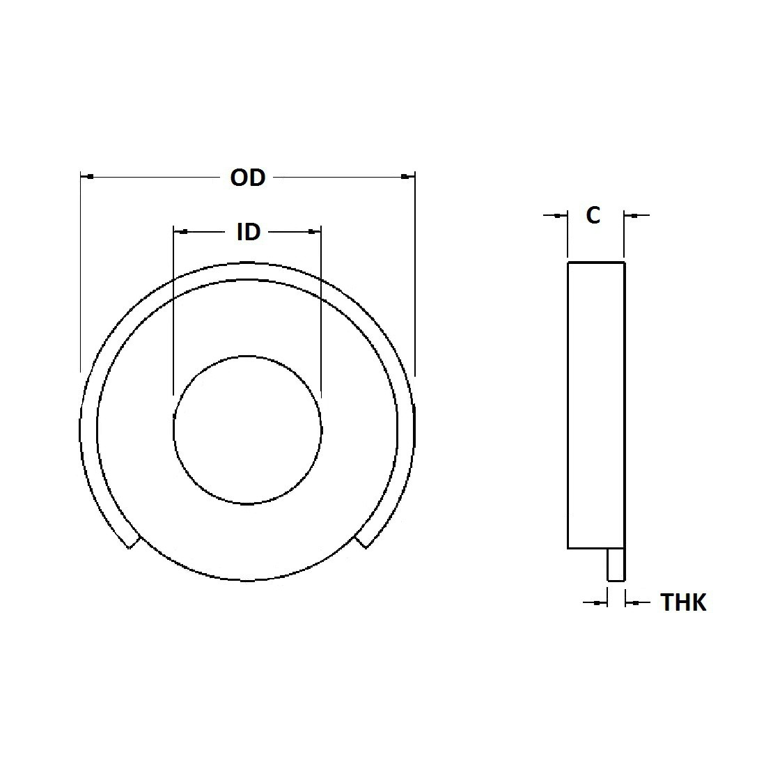 Terminal Cup Washer - 0.255 ID, 0.590 OD, 0.020 Thick, Copper, Nickel