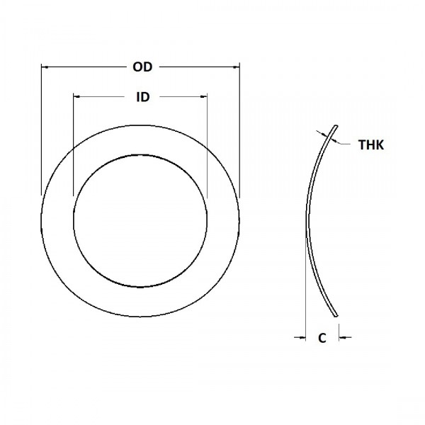 Wave Washer - 0.390 ID, 0.718 OD, 0.015 Thick, Spring Steel - Hard