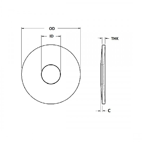 Belleville Washer - 0.121 ID, 0.243 OD, 0.022 Thick, Spring Steel - Hard, Zinc & Yellow