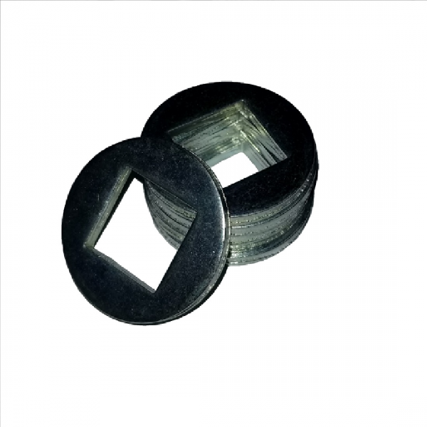 Square ID Washer - 0.406 ID, 1.500 OD, 0.054 Thick, Low Carbon Steel - Soft, Zinc & Clear