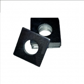 Square OD Washer - 0.203 ID, 0.375 OD, 0.125 Thick, Low Carbon Steel - Case Hard, Black Oxide
